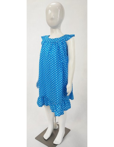Niebieska sukienka w białe groszki